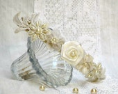 Lace bridal headband, ivory lace headband, ivory flower crown, bridal flower crown, lace flower crown, white flower crown headband, flowers