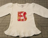 Sample Sale Girls long sleeve TEE ONLY in Gypsy Bandana Pink Paisley size 6-12 monthletter B only destash ready to ship