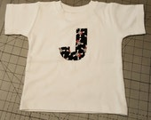 Sample Sale boys short sleeve TEE ONLY in pirate size 12 month letter J only destash ready to ship