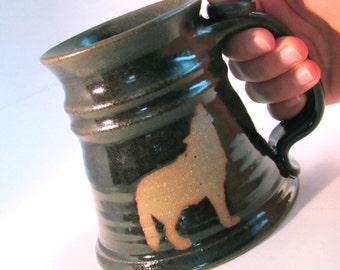 Howling Wolf Stein - Coffee Mug - Renaissance Stein - Tankard - Handmade Pottery - Pottersong Pottery - Wolf Silhouette - Walnut Brown