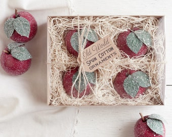 Apple Ornaments - Spun Cotton Vintage Style Christmas Decorations, 4 Piece Boxed Set