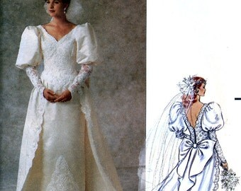 Butterick 5206 Sewing Pattern for Misses' Bridal Gown with Detachable Train - Uncut - Size 6, 8, 10, 12