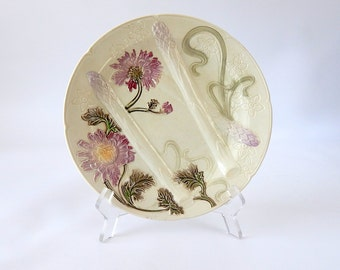 SALE French Antique Asparagus Plate in Majolica 1920s
