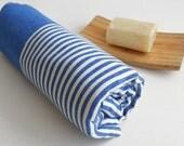 SALE 50 OFF/ Turkish Beach Bath Towel / Classic Peshtemal / Blue / Wedding Gift, Spa, Swim, Pool Towels and Pareo