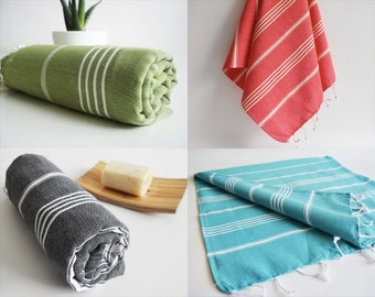 Free Shipment SET 4 Piece Turkish BATH Towel - Classic Peshtemal - Beach, Spa, Swim, Pool Towels and Pareo - Fast Shipping with FedEx