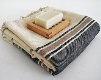 SALE 50 OFF/ BathStyle / Black-Natural / Turkish Beach Bath Towel / Wedding Gift, Spa, Swim, Pool Towels and Pareo