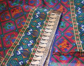 Elephants n Parrots in Geometry  - Vintage Silk & Zari Sari (5 m / 6 yds)
