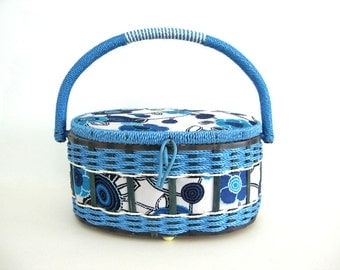 Vintage Sewing Basket Tote Oval Caddy Craft Storage Knitting Crewel Box with Handle Blue Floral Fabric Woven Wicker