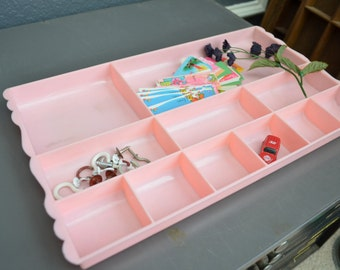 Pink Storage Tray Vintage Plastic Drawer Organizer Divided Desk Accessory Sewing Crafts Pencils Clips Shallow Desk Organizer Vintage Desk