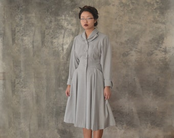 1940s Grey Wool Fit and Flare Coat size S