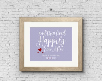 Digital Art Print - Happily Ever After - Personalized Customized Engagement Gift, Wedding Gift, Couples Print, Printable