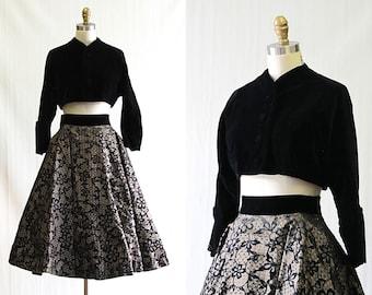 FABULOUS FIFTIES Vintage 50s Dress Set | 1950's Black Velvet Bolero w/ Flocked Floral Full Circle Skirt by Lee Mar of California | Medium