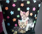 90's Kitties and Rhinestone Daisy Cat Purse