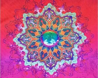 90's Sacred Geometry Zen Lotus Print Tank Top // M - L