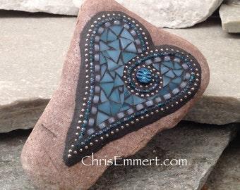 Denim Blue Heart, Garden Stone, Mosaic, Garden Decor