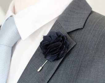 Navy Carnation mens wedding boutonniere, lapel pin stick,lapel pin, brooch pin, button back, nautical navy boutnniere, lapel pin,