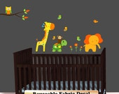 Jungle Decals, Monkey Decal, Jungle Theme, Giraffe Elephant, Turtle Decal, Jungle Animal Decals, Above Crib Decal, Nursery Decal - as515or