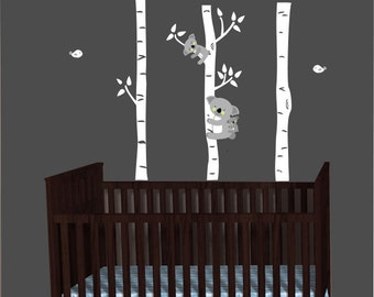 Koala Wall Decal, Koalas Sticker, Birch Tree Decal, Above Over Crib Decals, Koala Tree Wall Decor, Outback Animals For Baby Nursery - as600l