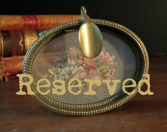 RESERVED  //  Vintage Ashtray / Petit Point Ashtray / Trinket Dish / Jewelry Dish / Brass Ashtray