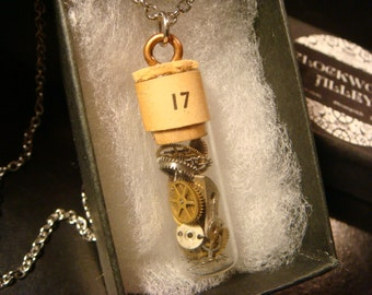 Watchmakers Vial with Gears and  Watch Parts Steampunk Style Necklace  (2161)
