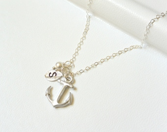 Anchor Necklace Silver, Custom Personalized Anchor Necklace, Bridesmaid Jewelry, Nautical Theme, Navy Sailors Anchor, Bridesmaid Gift Idea