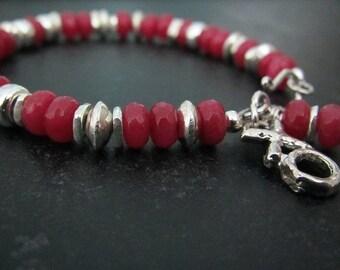 Valentine's Day Bracelet | Ruby Jade Bracelet | Eclectic Jewelry | Sterling Silver Bracelet | July Birthstone | Ruby Gemstone Bracelet