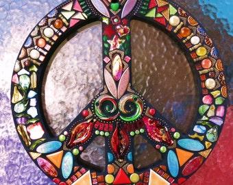 "MOSAIC PEACE Sign - 16"" Round - Hippie / Bohemian Art - Custom Order - Glass Gems, Beads, Ballchain, Mirrored Glass & Embellishments  - OOAK"