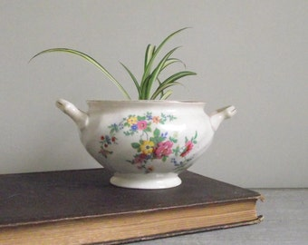 Vintage Sugar Bowl | Old Chelsea Johnson Bros England | Mix & Match China | Repurposed Planter Storage Bowl | Farmhouse Cottage Chic Decor