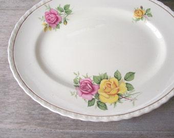 Vintage Myott Platter / Rose Pattern Oval Plate / Myott Sons Ltd England Maid Marion / Cottage Chic Mix & Match / Wedding Home Wall Decor