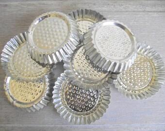 French Tart Tins | Set of 8 Vintage Fluted Tartlet Pans | Farmhouse Candle Holders | Vintage Crafts Supplies | Storage Organization