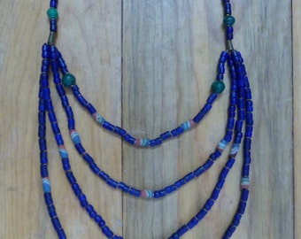 Long Tribal, Cobalt Blue, Beaded Necklace With Malachite and Cobalt Beads BEAUTIFUL ON!