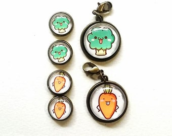 Cute Vegetable 2sets Jewelry, Earring Stud and 20mm Glass Cabochons Pendant EN154