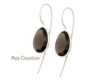 EE6200004) Smoky Quartz Earrings, Smoky Quartz Checkerboard Earrings, Brown Earrings, Quartz Earrings, Smoky Quartz Drop Earrings, Bohemian