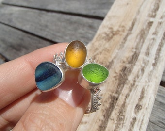 One Sea Glass Crown Sterling Silver Ring (S12)