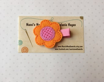 Spring Flower Hair Clip- Orange Flower with Pink Center