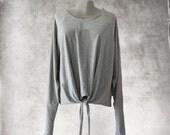Tie hem top/gray knit crew/extra long sleeve/cinch front shirt