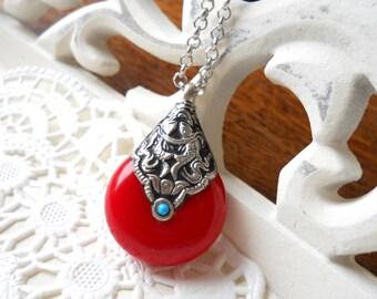 SALE Red ethnic pendant necklace boho necklace tibetan pendant amulet turquoise tibetan style bohemian necklace copal resin turquoise stone