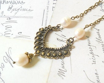 victorian necklace freshwater pearl necklace white pearl necklace vintage style necklace victorian style necklace filigree necklace