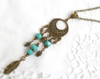 turquoise gypsy necklace bohemian feather necklace boho necklace turquoise necklace boho jewelry gypsy necklace
