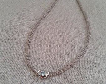 Mother's day vintage silver mesh necklace with blue topaz bezel pendant