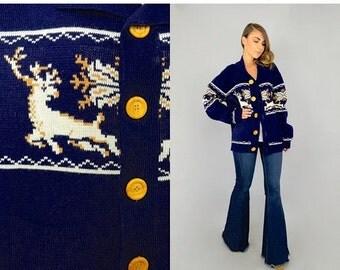 SUMMER SALE SALE • 70's Reindeer Knit Cardigan