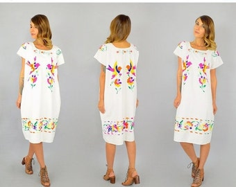 WINTER SALE 70's Embroidered Bird Tunic/Dress