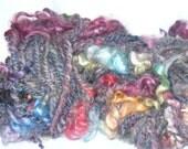 Colorful Handspun Yarn | Bulky Yarn with Mohair Curl Locks | Navajo Ply Yarn | Art Yarn | aprox 44 yards