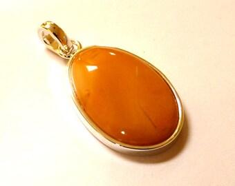 """Baltic Amber Butterscotch Yolk Pendant 1.81"""" 9.1 gram 925 Silver"""