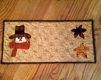 Quilted Table Topper, Fall Scarecrow Runner, Table Runner / 10 x 21 - MW