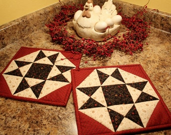 Quilted Pot holders, Quilted Hot pads, Trivets, Barn Red and KS Troubles Black