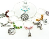 Travel Wine Glass Charms- 8 World Traveler Wine Tags with Colored Pearl & Glass Beads, Margarita Glass Charms, Eiffel Tower, Compass Rose