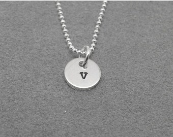On Sale Sterling Silver Initial Necklace, Tiny Letter v Necklace, Initial Pendant, Personalized Jewelry, Sterling Silver Jewelry