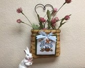 Spring Basket-Home Decor-Completed Cross Stitch-Wall Hanging-Door Hanging