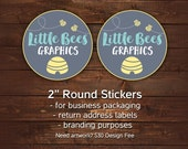 "Packaging stickers, Round Business stickers, Stickers with your logo, 2"" round stickers for business, Branding stickers, Sheets of 20"